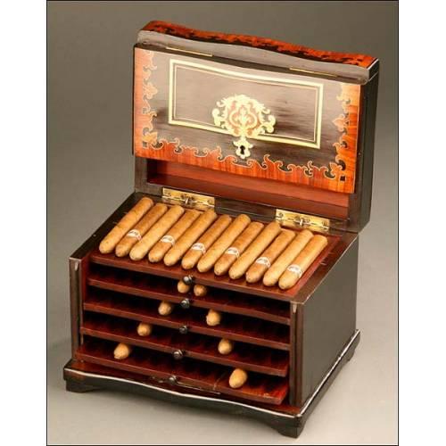 Caja de Cigarros en marquetería, Francia, S. XIX