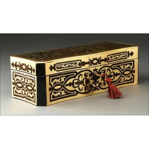 Impresionante Caja para Guantes Antigua con Marquetería Boulle. Francia, Siglo XIX