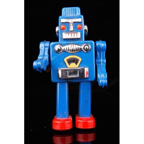 Robot Mecánico Vintage en Hojalata Esmaltada y Serigrafiada.