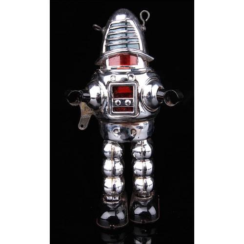 Robot Mecánico Vintage que Reproduce un Icono de la Ciencia-Ficción.