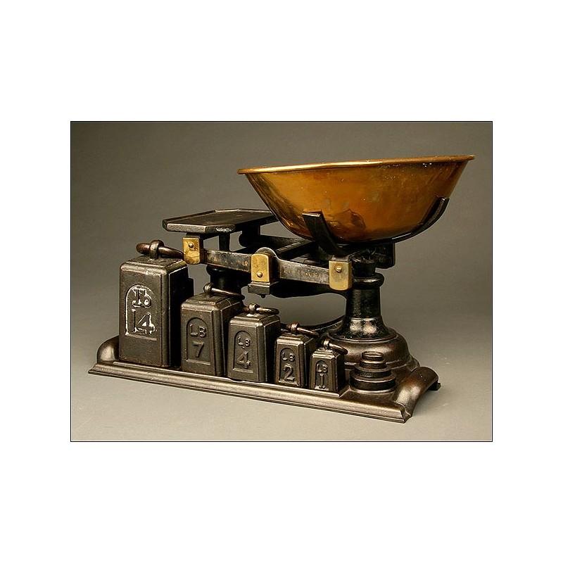 Balanza de Comercio Inglesa fabricada por W & T Avery Ltd. Birmingham, ca. 1920. ¡Completa!
