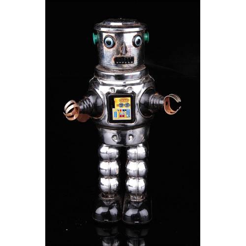 Robot Vintage Mecánico Fabricado en Hojalata y Funcionando.