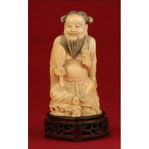 Delicada Figura China de Marfil del Dios Zhongli Quan. Circa 1920