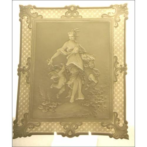 Preciosa Litofanía Alemana del Siglo XIX. Firmada y Numerada al Dorso. Perfectamente Conservada