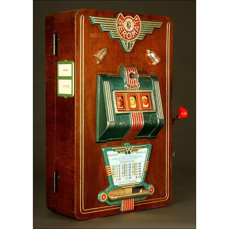 Máquina Tragaperras Alemana Beromat. Año 1.955. Con Llave y Monedas. Funciona Muy Bien