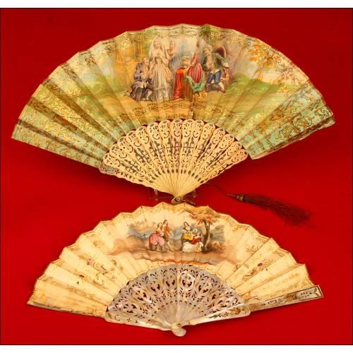 Pareja de Preciosos Abanicos Iluminados a Mano, realizados en el siglo XIX.