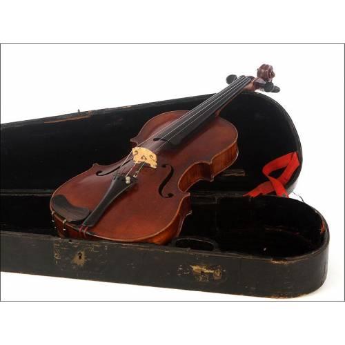 Fantástico Violín Antiguo Fabricado por Joseph Chardon. París, 1872. Con Estuche Original
