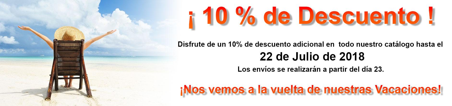 10% de Descuento durante nuestras vacaciones